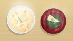 アニメの筍ご飯とお吸い物