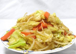 野菜炒めの量(横から撮影)