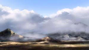 幻想世界に雲が広がり雪が降る
