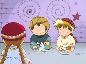 HPを回復するトマ(左)、ニケ(右)、ククリ(手前)