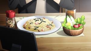 キリトがパスタを食べるシーンのアニメ画像
