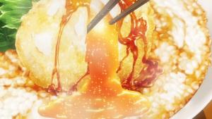 アニメの箸で割るシーン