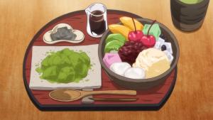 アニメの抹茶わらび餅とミニあんみつのセット