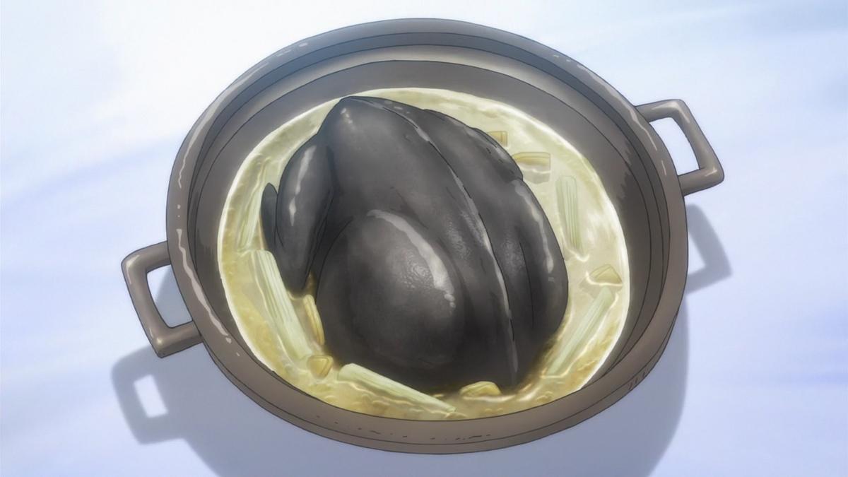 アニメ真・中華一番の烏骨鶏ご飯
