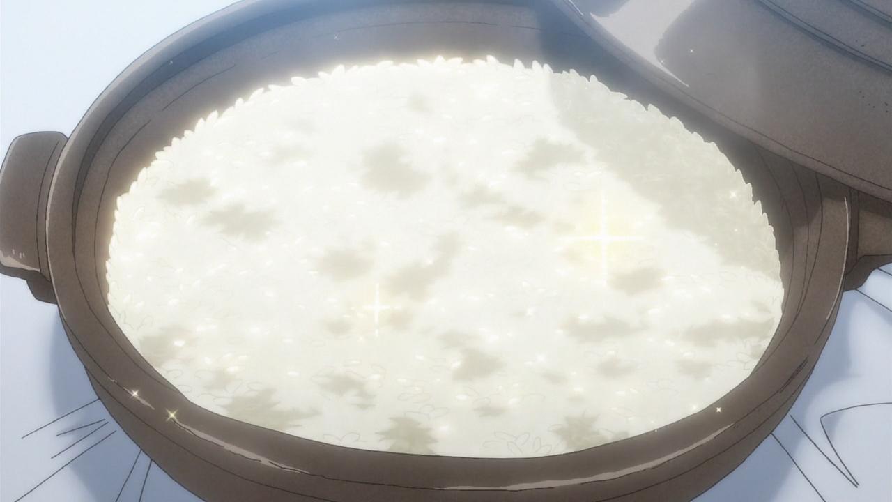 アニメ1話で白米を炊いたものが登場