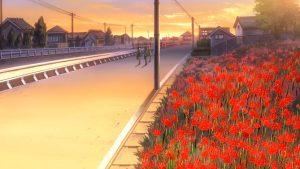 CLANAAD第6話で登場する、秋の彼岸花。(志麻君とクラスメート)